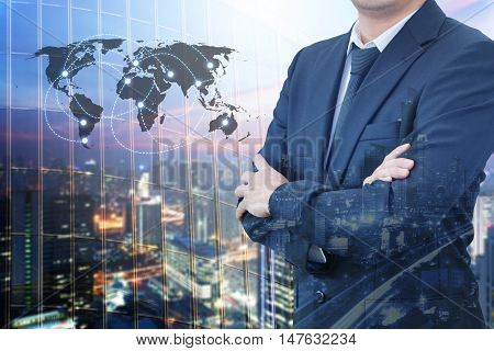 Double Exposure Of Young Handsome Confident Professional Businessman Standing Crossed Arms And Night