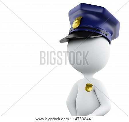3d Illustration. Policeman with hat and badge. Isolated white background.