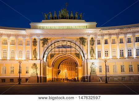SAINT PETERSBURG, RUSSIA - JULY 06, 2015: The arch of the General staff, summer night. Historical landmark of the city Saint Petersburg