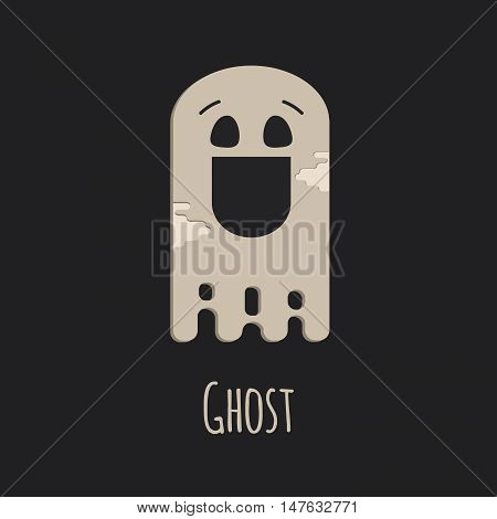 Funny ghost vector halloween silhouette character. Ghost in flat style on black background.