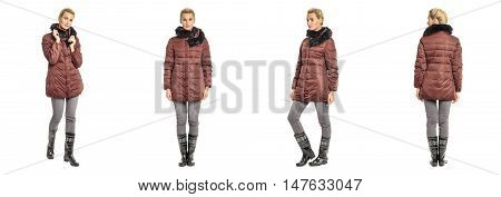 Pretty Blonde In Burgundy Winter Coat Isolated Over White