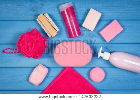 Accessories And Cosmetics For Personal Hygiene In Bathroom, Concept Of Body Care