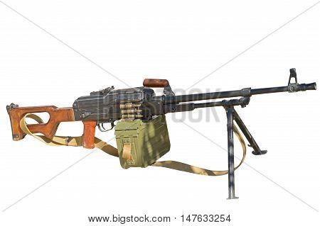 the PK Machine gun Kalashnikov on a white background