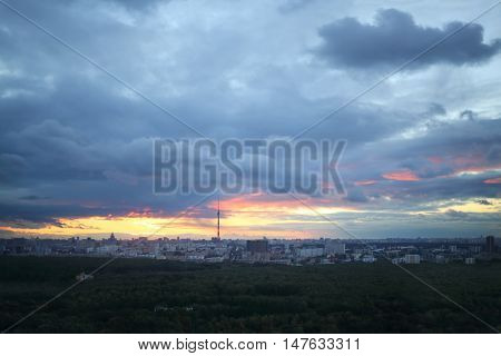 Beautiful panorama of evening Moscow with Ostankino tv tower