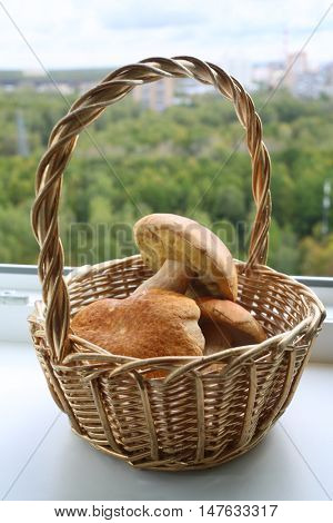 Raw fresh Mushrooms in basket on white windowsill at home