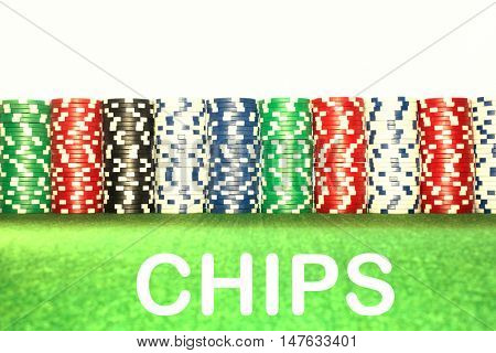 Stacks of Gambling Chips with the text saying chips