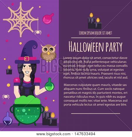 Halloween witch letterhead template in flat style. Vector template with witch cauldron magic potions and owl.