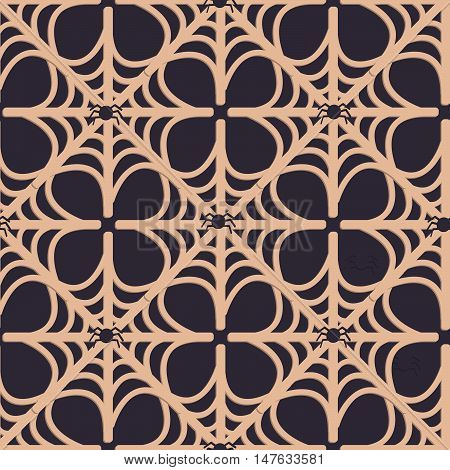 Spider web seamless pattern. Background with spiders and web in flat style.