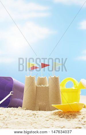 Sandcastle in sunshine