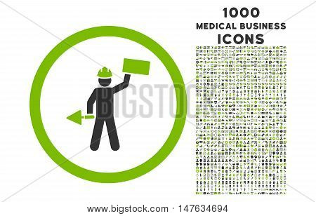 Builder With Shovel rounded vector bicolor icon with 1000 medical business icons. Set style is flat pictograms, eco green and gray colors, white background.