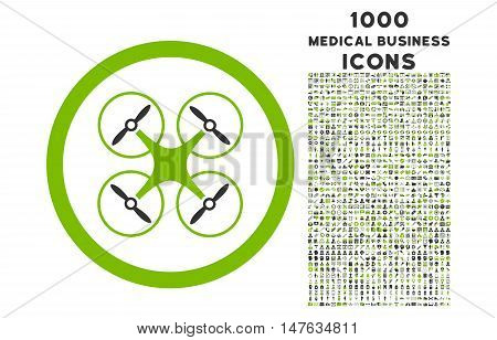 Copter rounded vector bicolor icon with 1000 medical business icons. Set style is flat pictograms, eco green and gray colors, white background.