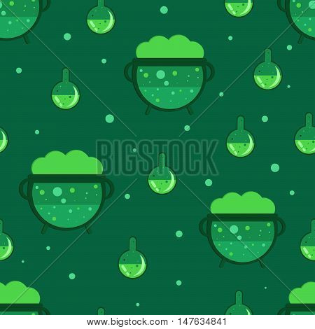 Magic cauldron seamless pattern. Green witches cauldron background. Flat style vector illustration.