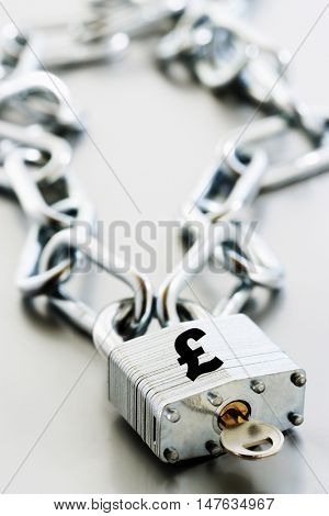 Padlock and chain with currency symbol