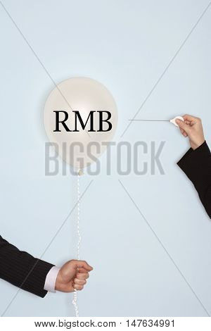 Popping balloon with RMB text on it