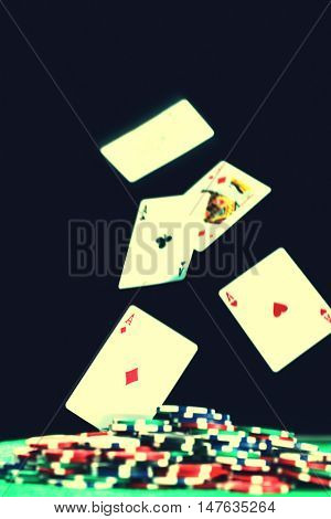 Cards falling on the table