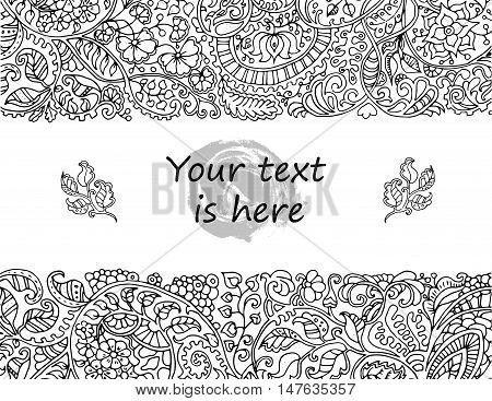Horizontal background with texture and zen floral pattern for card, poster, invitation. Hand drawn foliage line art, vintage vector illustration with copy space and graphic elements