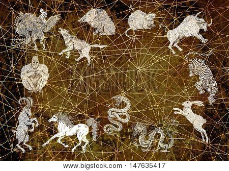 Textured background with twelve chinese zodiac animals. Vintage holiday collection of new year calendar and horoscope engraved symbols.  Graphic doodle illustration, mystic and esoteric concept