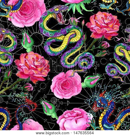 Fantasy seamless background with snake, dragon and rose flowers. Fantasy endless illustrations with vintage concept, hand drawn pattern with watercolor and graphic elements on black