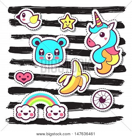 Kawaii Fashion Chic Patches, Pins, Badges And Stickers Design Set Over Black Stripes Background. Iso