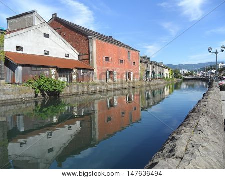 Reflection of The Former Warehouse along Otaru Canal, Popular Attraction in Otaru Town