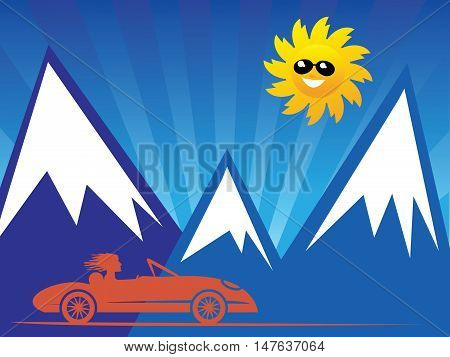 Red convertible car on mountain background, vector illustration