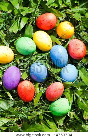 colorful easter eggs lying on grass