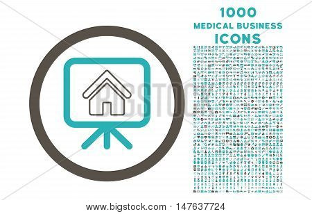 Project Slideshow rounded vector bicolor icon with 1000 medical business icons. Set style is flat pictograms, grey and cyan colors, white background.