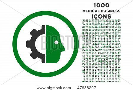 Cyborg rounded vector bicolor icon with 1000 medical business icons. Set style is flat pictograms, green and gray colors, white background.