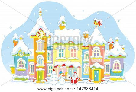toy town with colorful houses covered with snow on Christmas