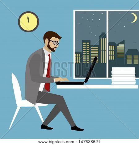 Office worker or businessman Working On laptop Computer.Nightwork.Cartoon vector illustration
