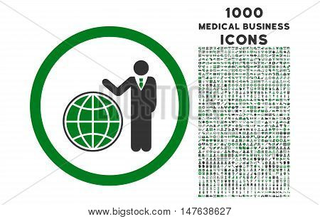 Global Manager rounded vector bicolor icon with 1000 medical business icons. Set style is flat pictograms, green and gray colors, white background.