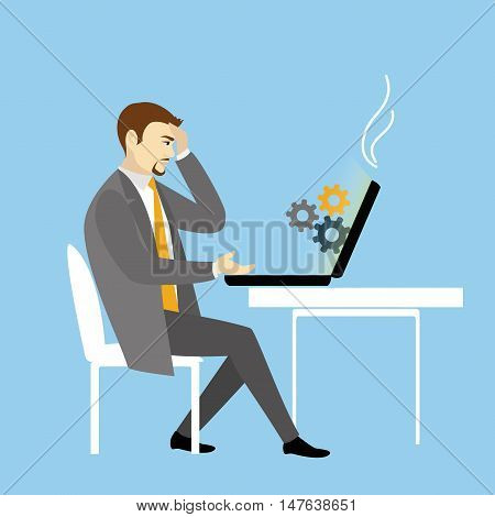 Man Working On laptop Computer.Businessman with idea and gears.Cartoon vector illustration
