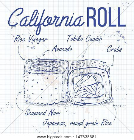California rolls with tobiko, shrimp or tuna and avacado. Sushi rolls set icons. Vector sushi sketch recipe on a notebook page