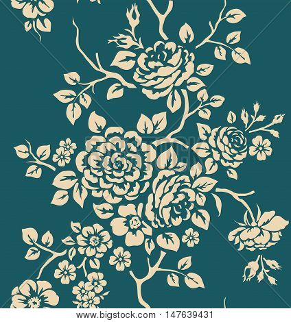 Vintage seamless pattern with rose. White flowers on blue bakground
