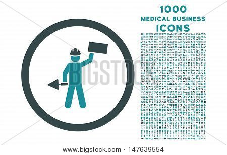 Builder With Shovel rounded vector bicolor icon with 1000 medical business icons. Set style is flat pictograms, soft blue colors, white background.