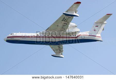 Gelendzhik Russia - September 9 2010: Beriev Be-200 amphibian plane is flying against blue sky
