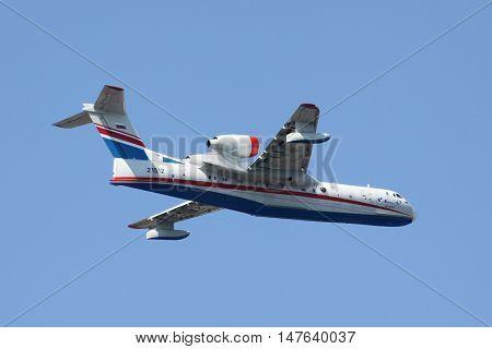 Gelendzhik Russia - September 9 2010: Beriev Be-200 amphibian plane is flying against clear sky