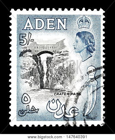 ADEN - CIRCA 1956 : Cancelled postage stamp printed by Aden, that shows Crater pass.