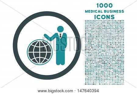Global Manager rounded vector bicolor icon with 1000 medical business icons. Set style is flat pictograms, soft blue colors, white background.