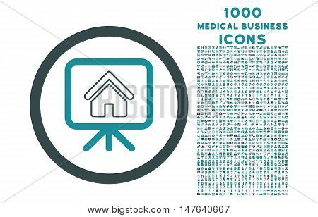 Project Slideshow rounded vector bicolor icon with 1000 medical business icons. Set style is flat pictograms, soft blue colors, white background.