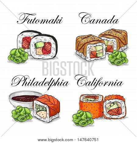 Sushi and rolls set. Fresh fish and rice. Soy sauce with sticks. Hand drawn vector stock illustration.