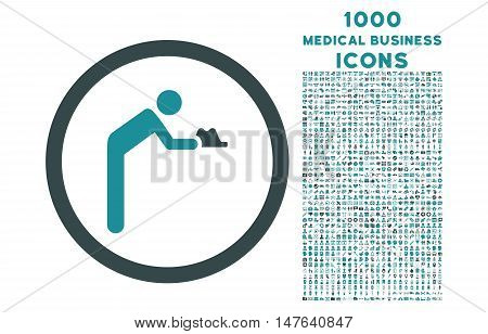 Servant rounded vector bicolor icon with 1000 medical business icons. Set style is flat pictograms, soft blue colors, white background.