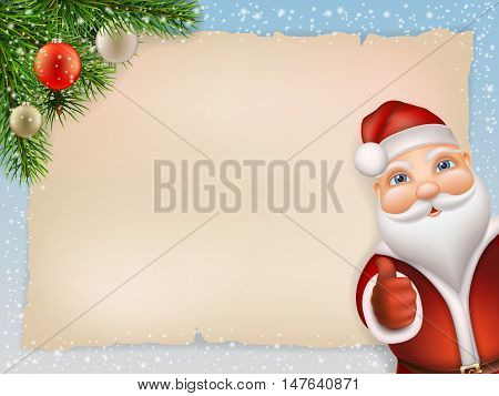 Christmas card with Santa Claus and fir branch decorated christmas ball. Background is old paper sheet and snowflakes. Santa Claus peeking and shows thumb up. Realistic vector illustration.