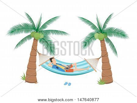 illustration man chilling using laptop in a hammock on beach under two coconuts tree cartoon flat style