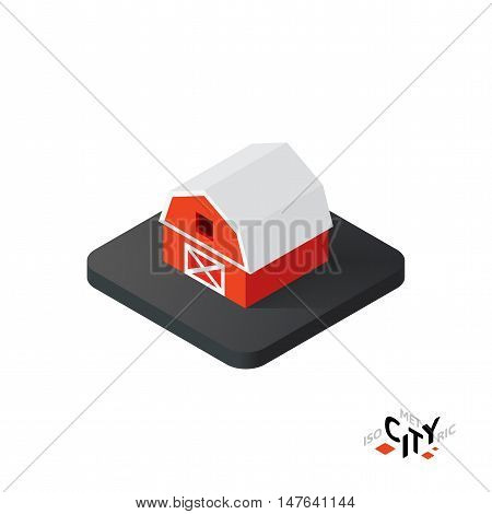 Isometric red barn flat icon isolated on white background, building city infographic element, digital low poly graphic, vector illustration