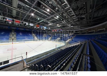 MOSCOW, RUSSIA - 14 OCT, 2015: Empty tribune at the hockey meet Dinamo Balashikha and Izhstal