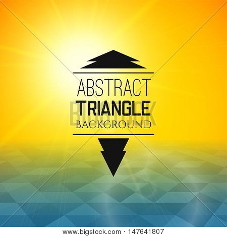 Abstract yellow sunset with blue triangle field, perspetive pattern in sunny fog, geometrical vibrant multicolored vector background illustration