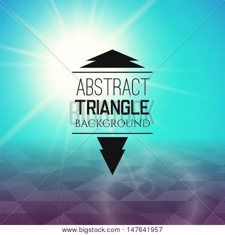 Abstract cyan sunset with violet triangle field, perspetive pattern in sunny fog, geometrical vibrant multicolored vector background illustration