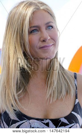 Jennifer Aniston at the Los Angeles premiere of 'Storks' held at the Regency Village Theatre in Westwood, USA on September 17, 2016.