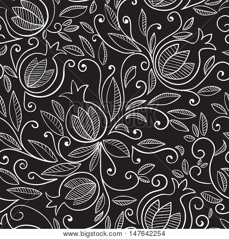Pomegranate seamless pattern. Floral vector reapet background. Floral pattern with decorative pomegranate fruits and leaves. White pattern on black background.